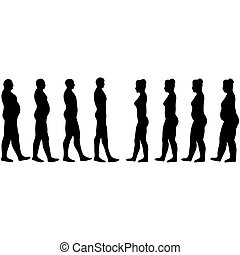 weight loss men and women, slimming silhouettes of men and...