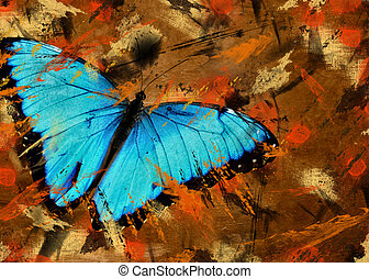 Abstract With Wings - Blue Morpho butterfly on a grunge...