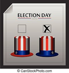 Election day - Pair of hats on a poll paper, Election day...