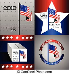 Election day - Set of american election day graphic designs,...