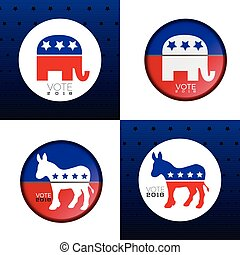 Election day - Set of american election day labels, Vector...
