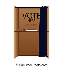 """Election day - Isolated box with """"vote here"""" text, Election..."""