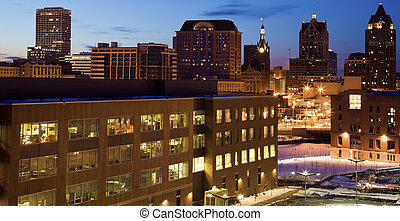Blue morning in Milwaukee, Wisconsin.