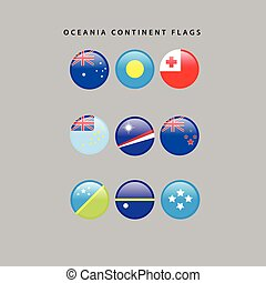 Oceania flags - Set of flags from oceania, Vector...
