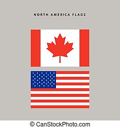 North america flags - Pair of flags from north america,...