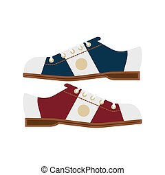 Bowling shoes vector icon - pair of bowling shoes on a white...