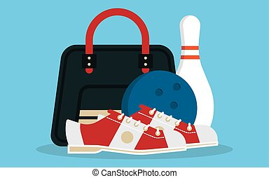 Vector set of bowling icons in flat design style.