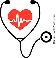 vector symbol of medical exam of heart health and heartbeat with stethoscope