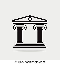 vector icon of ancient greek architecture building with...