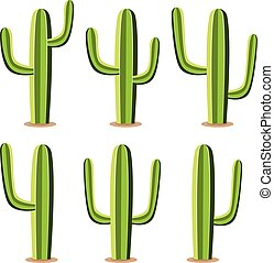 vector set of green desert cactuses