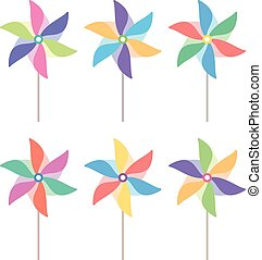 vector colorful pinwheel set - vector colorful and striped...