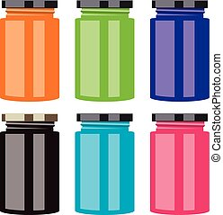 vector colorful jam jars