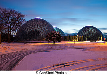 Domes of a Botanic Garden in Milwaukee; Wisconsin
