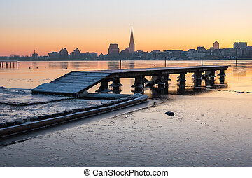 View over the river Warnow to Rostock (Germany).
