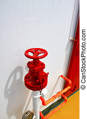 Detail of fire hydrant on board a ship