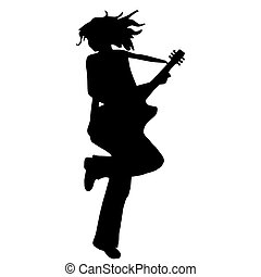 High quality original illustration of girl silhouette  with guit