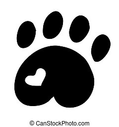 High quality original illustration of cat paw with heart...