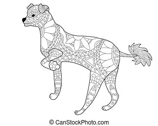 Chinese crested dog coloring vector for adults - Chinese...