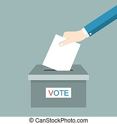 Voting concept picture - Hand putting voting paper in ballot...