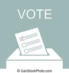 Voting concept picture - Voting paper in ballot box. Vector...