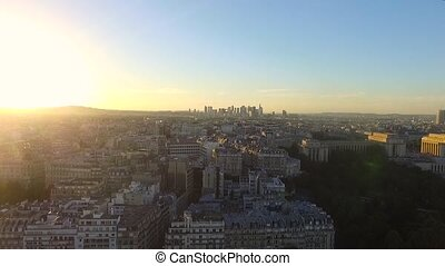 aerial view of sunset over paris