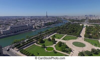 aerial view of park and river in paris