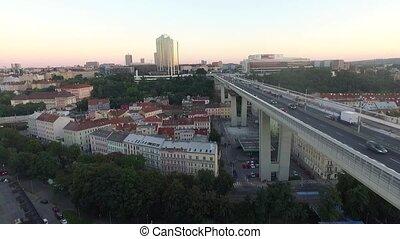 city bridge over the houses