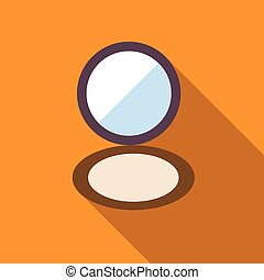 Puff box powder makeup icon, flat style