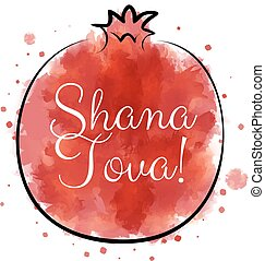 holiday Rosh Hashanah - Red watercolor pomegranate with...