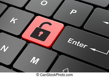 Privacy concept: Opened Padlock on computer keyboard background