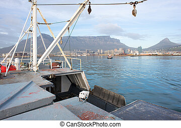 View of Table Mountain from Deck of Ship - A view of Tablew...