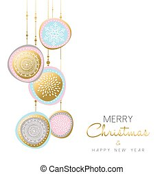 Merry Christmas and new year gold ornament design - Merry...