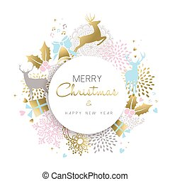 Christmas and new year gold deer decoration design - Merry...