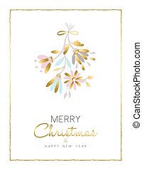 Merry christmas and new year gold flower card - Merry...
