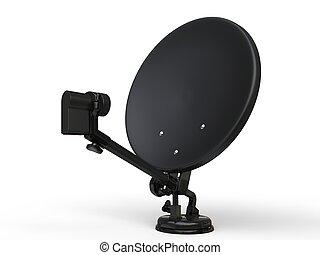 Black TV satellite dish - studio shot
