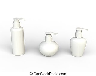 White unlabled beauty creme bottles