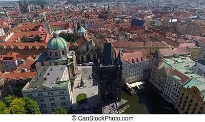 Aerial view of people on the bridge in Prague