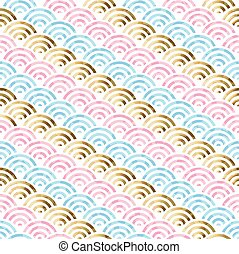 Gold circle shape abstract seamless pattern design - Modern...