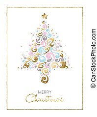 Merry christmas pine tree card design in gold - Merry...