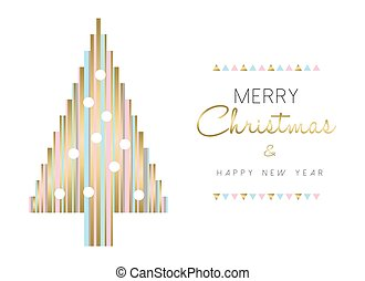 Christmas tree and new year design in gold color - Merry...