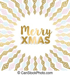 Merry Xmas gold mandala design in light colors - Merry...