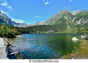 Popradske pleso lake - Wide angle landscape shot of glacial...