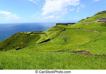 Brimstone Hill Fortress - St Kitts - The coastline at...