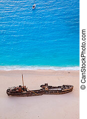Detail aerial view of shipwreck on Navagio beach, Zakynthos
