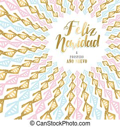 Gold Christmas and new year card design in Spanish - Merry...