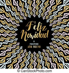 Gold Christmas and New Year art design in Spanish - Merry...