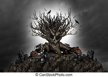 Halloween Creepy Tree Background - Halloween haunted creepy...