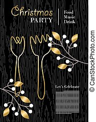 Christmas party template with gold decoration
