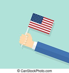 US flag in hand flat design style. Vector