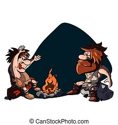 Two cavemen talking